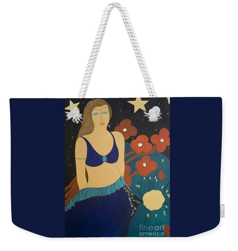 #stars Weekender Tote Bag featuring the painting Nightfall by Jacquelinemari