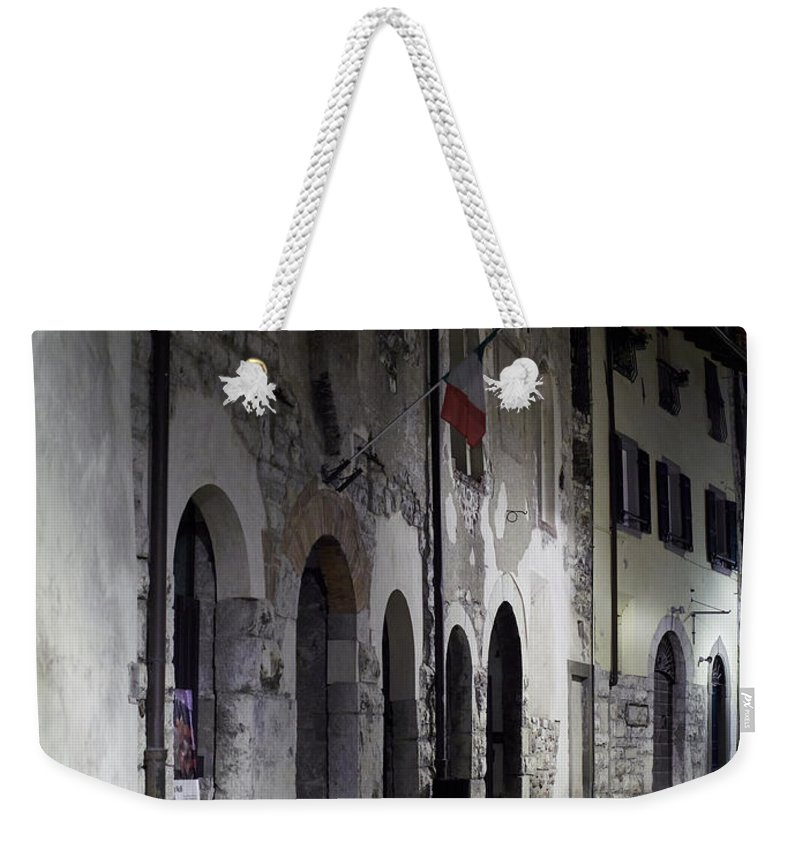 Francacorta Weekender Tote Bag featuring the photograph Nightscape. Iseo by Jouko Lehto