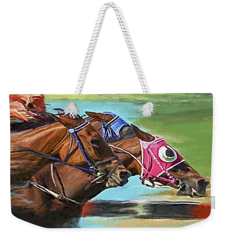 Horses Weekender Tote Bag featuring the painting Nikita By A Head by David Wagner