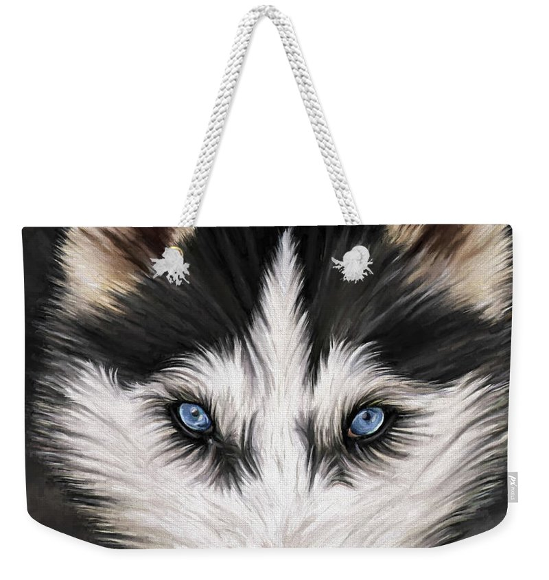 Dog Art Weekender Tote Bag featuring the painting Nikki by David Wagner