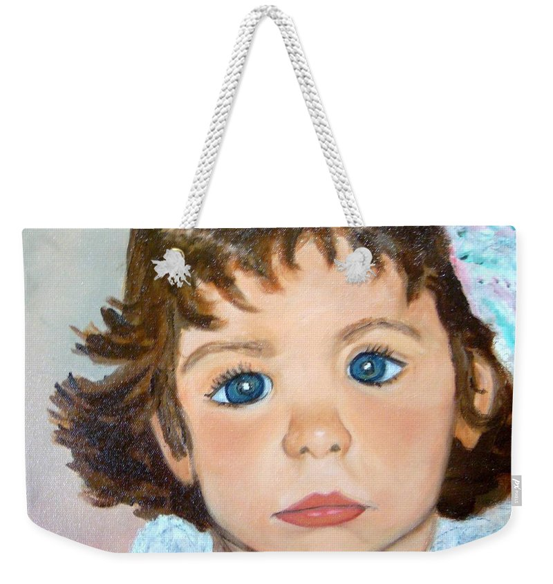 Portrait Weekender Tote Bag featuring the painting Nikki by Laurie Morgan