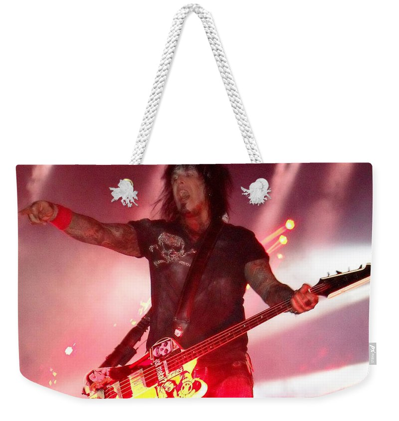 Motley Crue Weekender Tote Bag featuring the photograph Nikki by Sheryl Chapman Photography