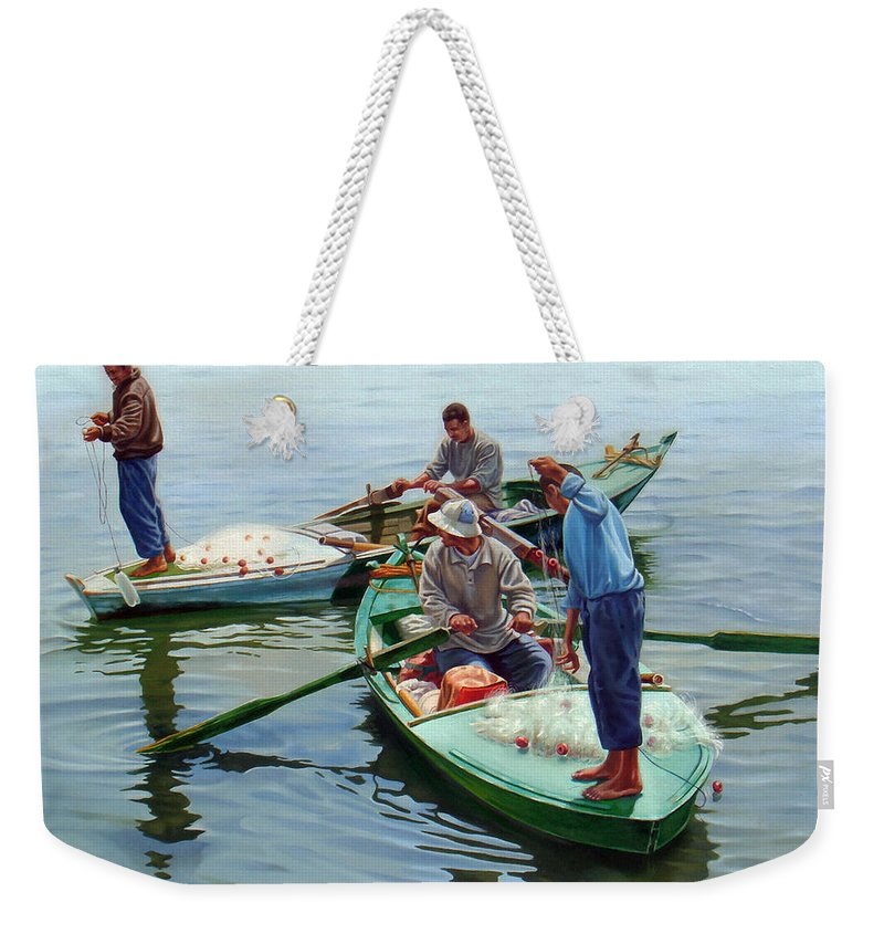 Realism Weekender Tote Bag featuring the painting Nile River Fishermen by Ahmed Bayomi