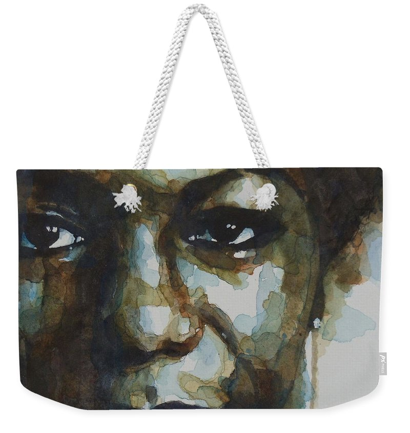 Nina Simone Weekender Tote Bag featuring the painting Nina Simone Ain't Got No by Paul Lovering