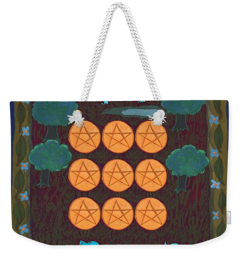 Tarot Weekender Tote Bag featuring the painting Nine Of Pentacles by Sushila Burgess