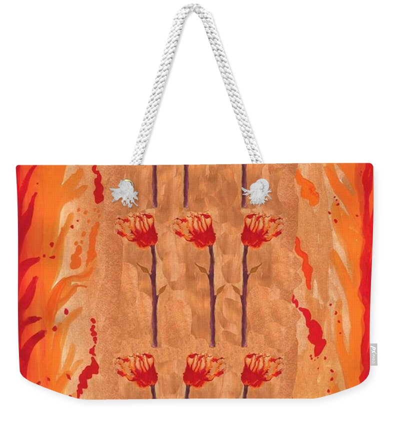 Tarot Weekender Tote Bag featuring the painting Nine Of Wands by Sushila Burgess