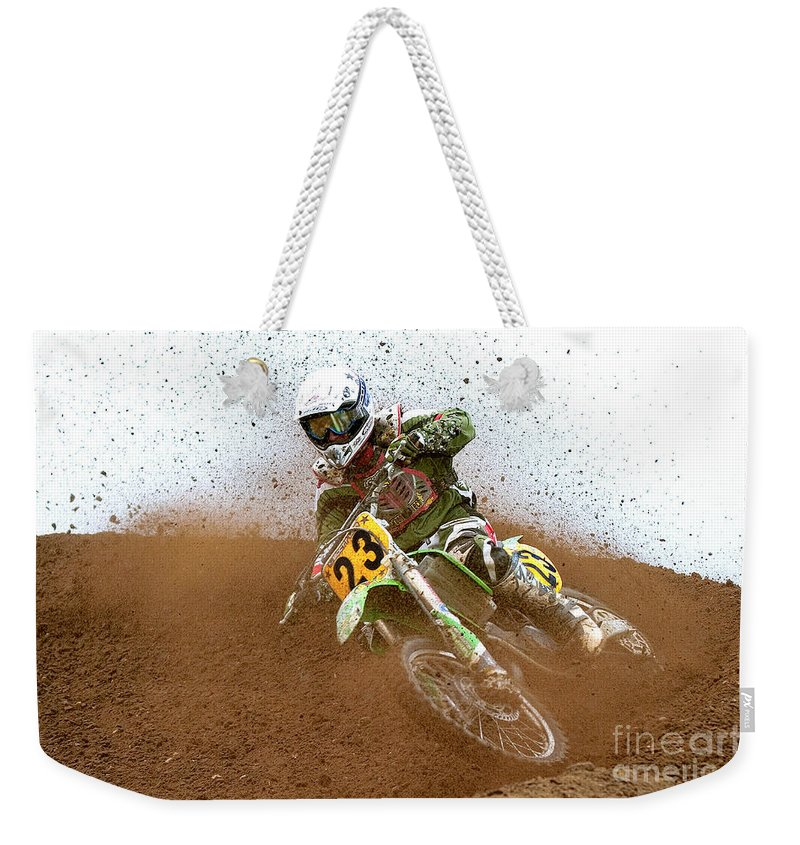 Dirt Bike Racing Weekender Tote Bag featuring the photograph No. 23 by Jerry Fornarotto