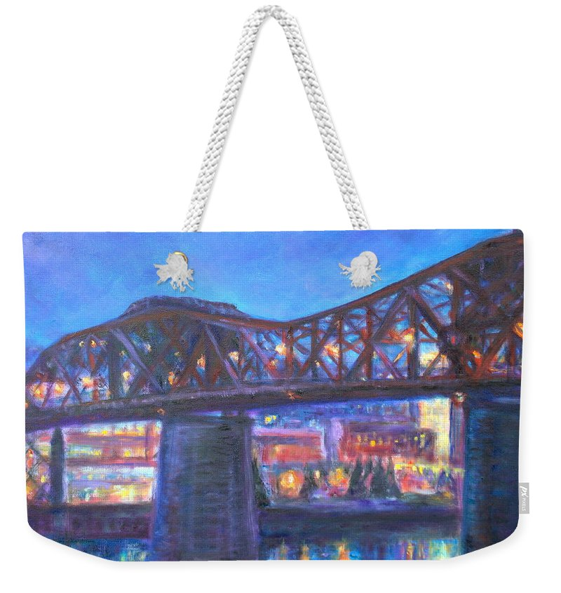 Sky Weekender Tote Bag featuring the painting City At Night Downtown Evening Scene Original Contemporary Painting For Sale by Quin Sweetman