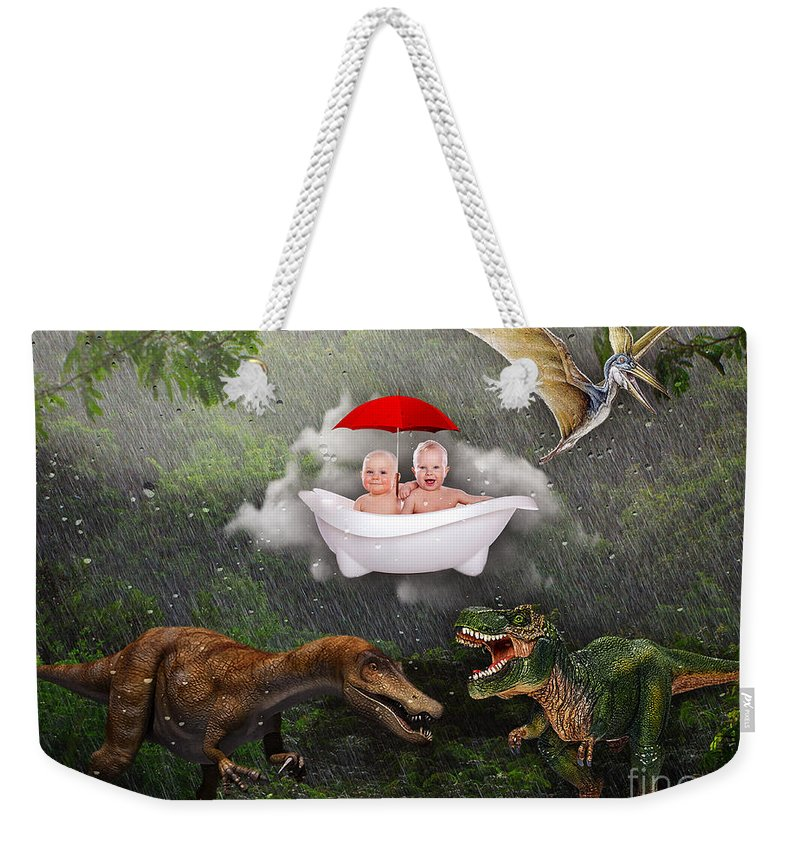Fantasy Weekender Tote Bag featuring the mixed media No Fear by Marvin Blaine