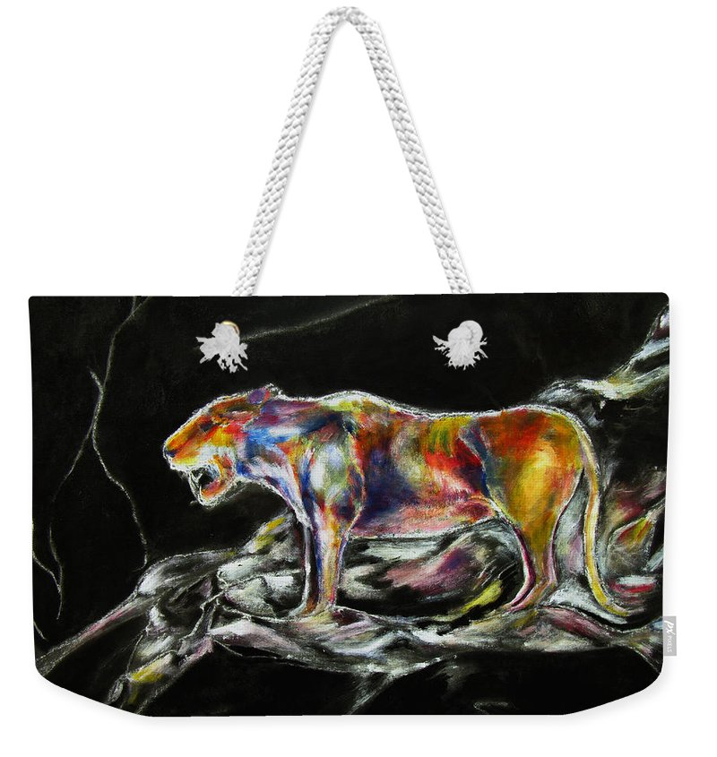 Animals Weekender Tote Bag featuring the painting No Fear by Tom Conway
