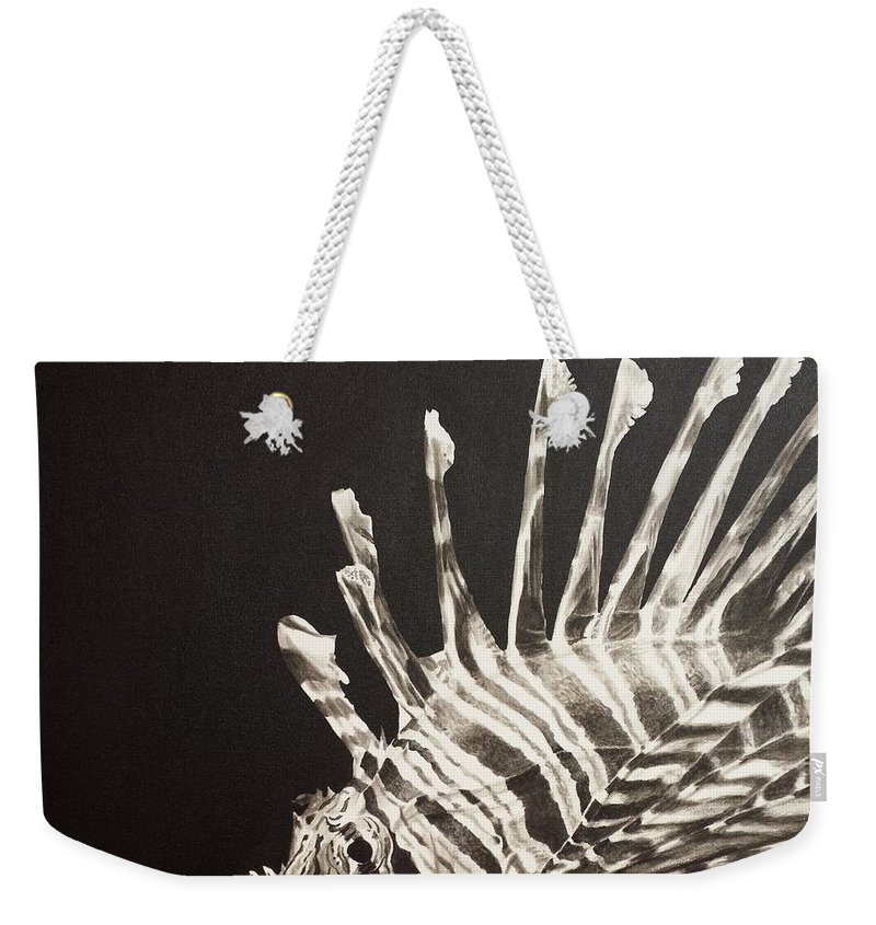 Painting Of A Lion Fish Weekender Tote Bag featuring the painting No Lion by Scott Robinson