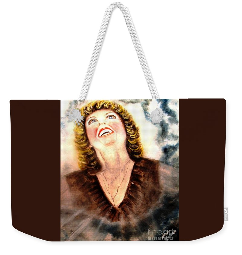 Lady Weekender Tote Bag featuring the painting No More Shame by Hazel Holland