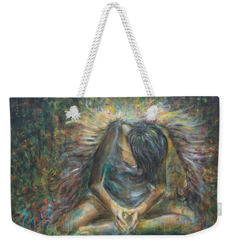 Angel Weekender Tote Bag featuring the painting No Paradise by Nik Helbig