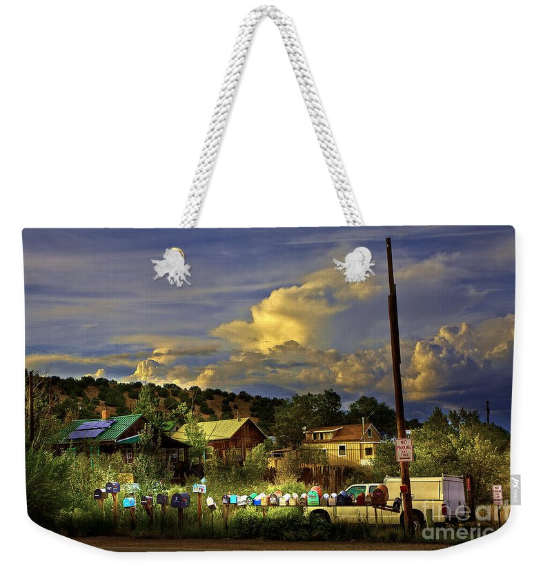 Mailboxes Weekender Tote Bag featuring the photograph No Parking Anytime I by Madeline Ellis