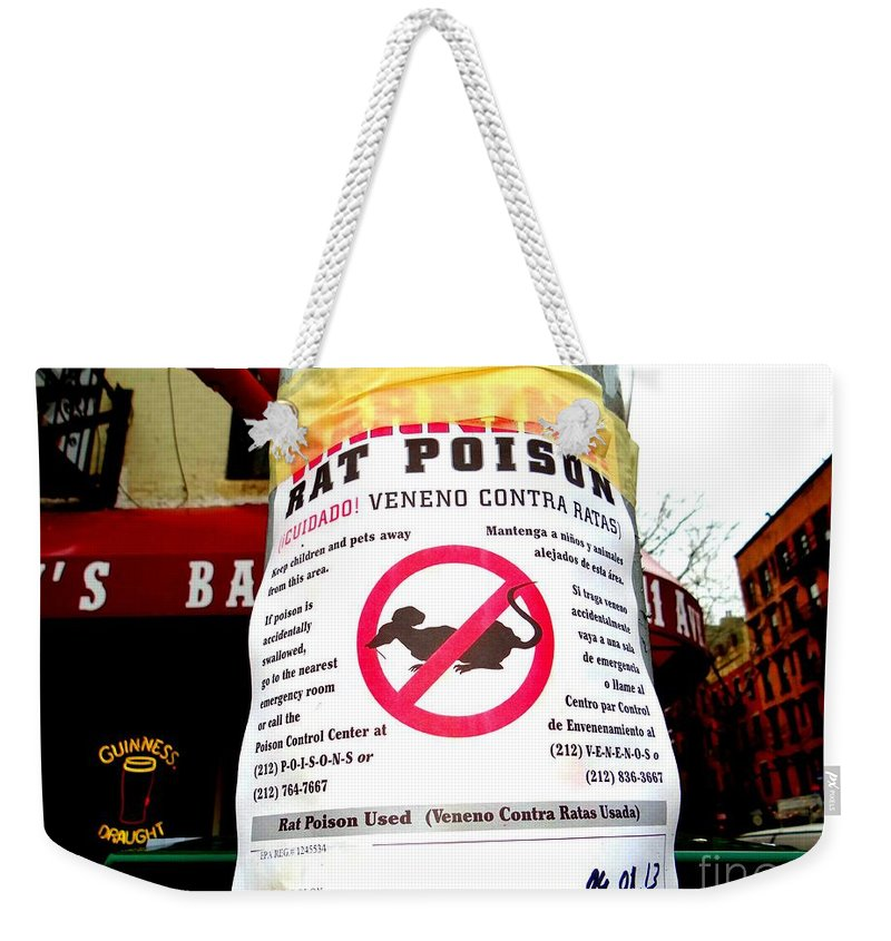 New York City Weekender Tote Bag featuring the photograph No Rats by Ed Weidman