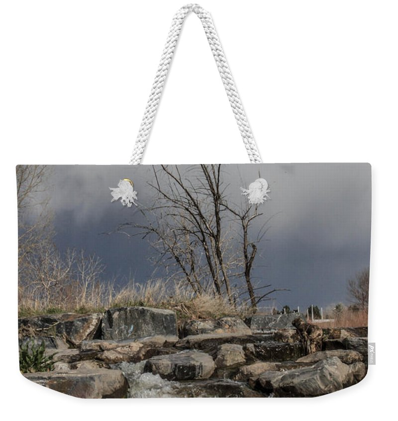 Small Waterfall Weekender Tote Bag featuring the photograph No Title Yet by Josh Scanlon