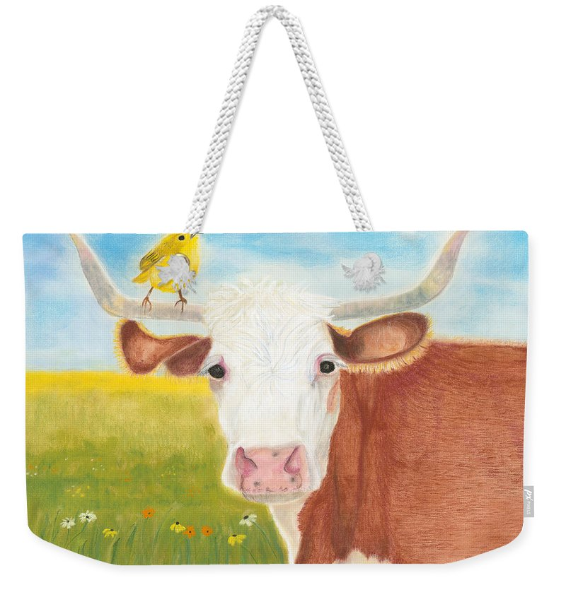 Cow Weekender Tote Bag featuring the painting No Tree Necessary by Arlene Crafton