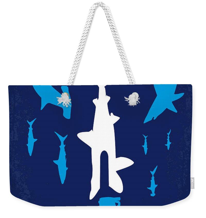 Sharknado Weekender Tote Bag featuring the digital art No216 My Sharknado Minimal Movie Poster by Chungkong Art