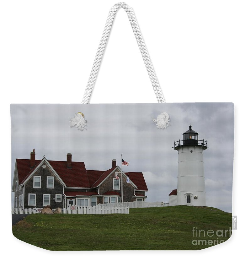 Lighthouse Weekender Tote Bag featuring the photograph Nobska Point Light by Christiane Schulze Art And Photography