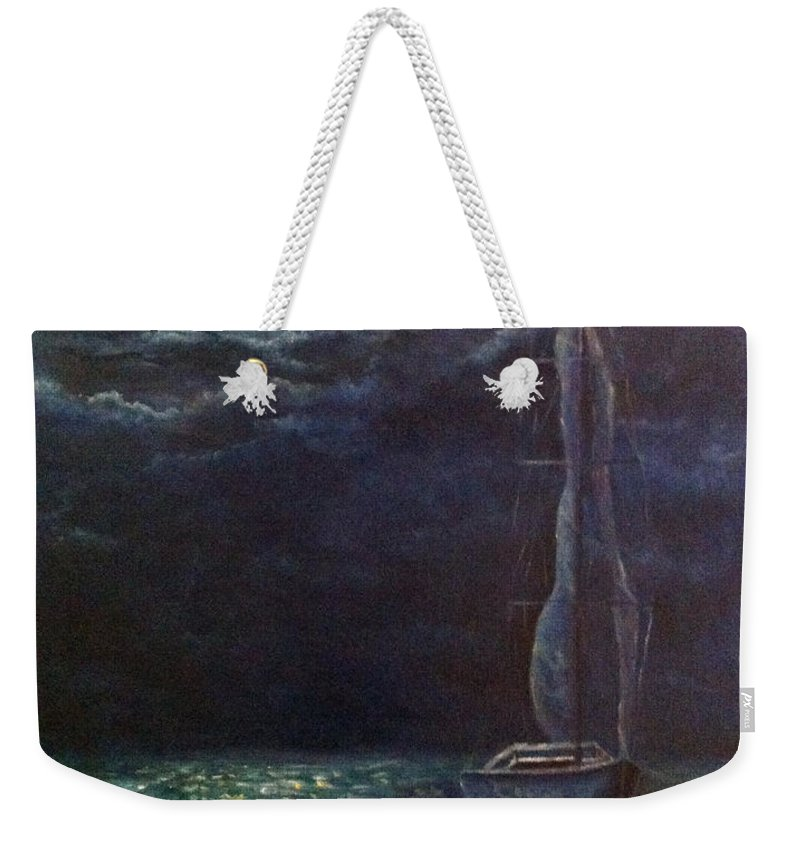 Night Weekender Tote Bag featuring the painting Nocturne Song by Alina Martinez-beatriz