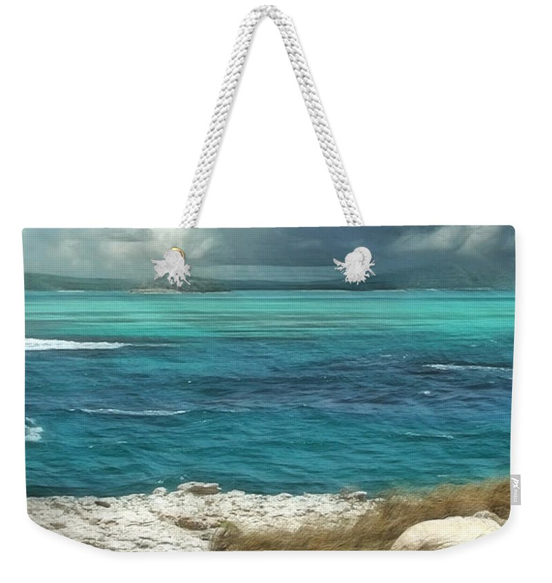 Antigua Weekender Tote Bag featuring the painting Nonsuch Bay Antigua by John Edwards