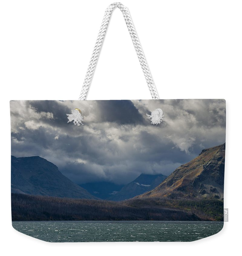 Glacier National Park Weekender Tote Bag featuring the photograph Noontide At St. Mary Lake by Greg Nyquist