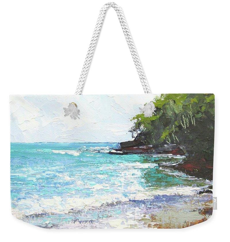 Seascape Weekender Tote Bag featuring the painting Noosa Heads Main Beach Queensland Australia by Chris Hobel