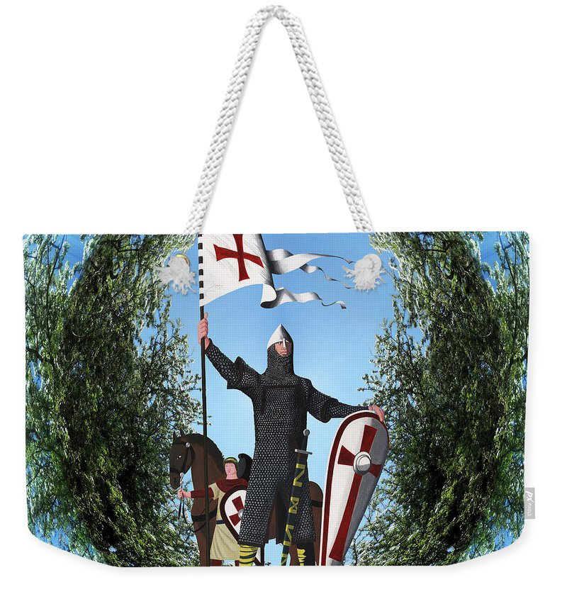 Norman Weekender Tote Bag featuring the painting Norman Crusader by Neil Finnemore