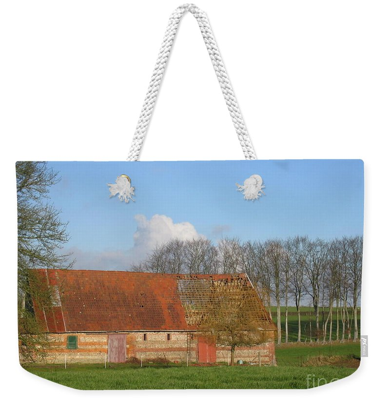 Normandy Storm Damaged Barn Weekender Tote Bag featuring the photograph Normandy Storm Damaged Barn by HEVi FineArt