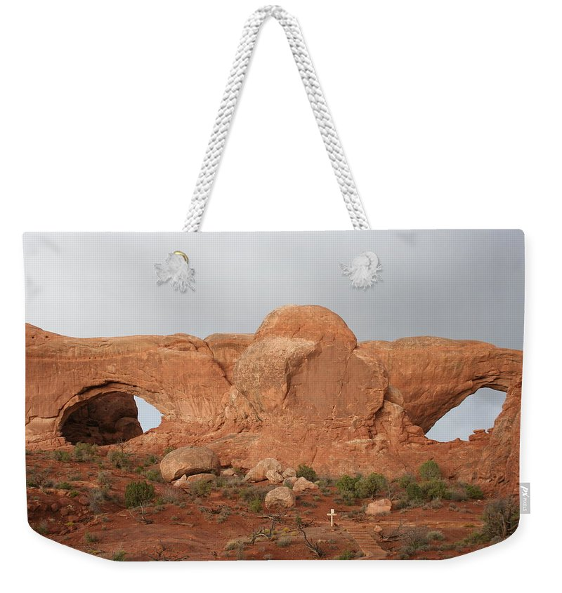 Window Weekender Tote Bag featuring the photograph North And South Window Arches Np by Christiane Schulze Art And Photography