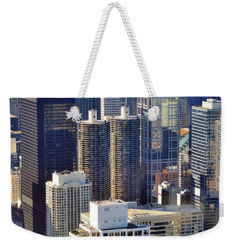 Chicago River Weekender Tote Bag featuring the photograph North Loop Density by Bruce Leighty