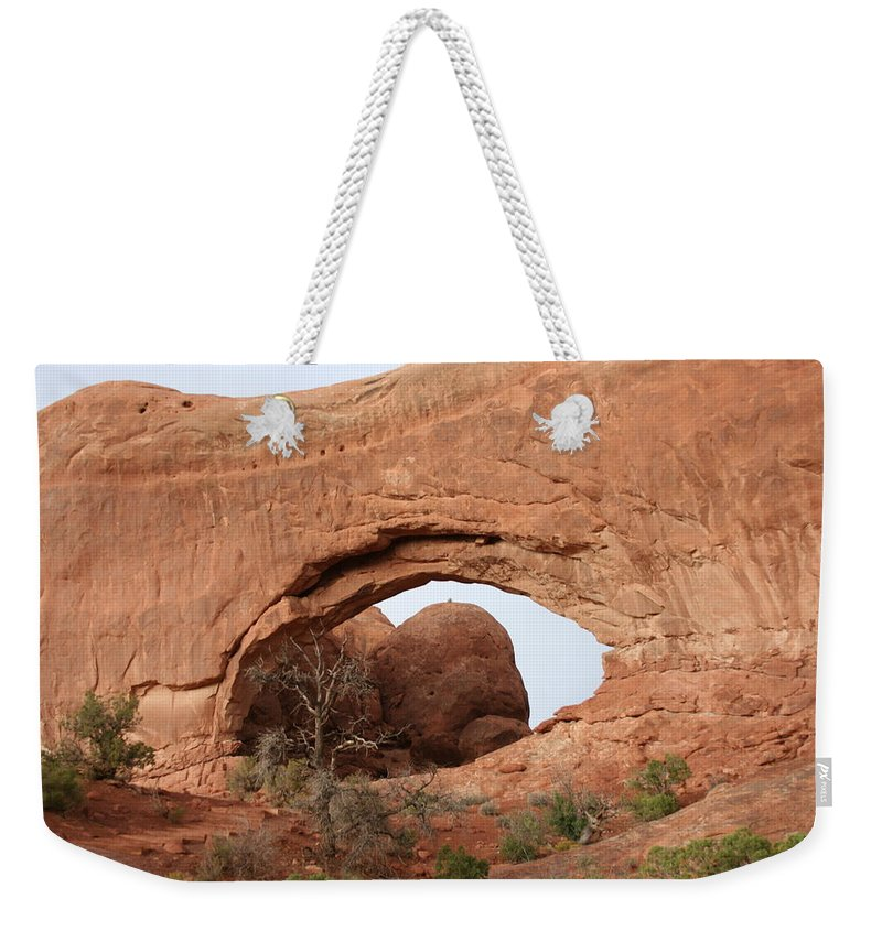 North Window Weekender Tote Bag featuring the photograph North Window Arches Park by Christiane Schulze Art And Photography