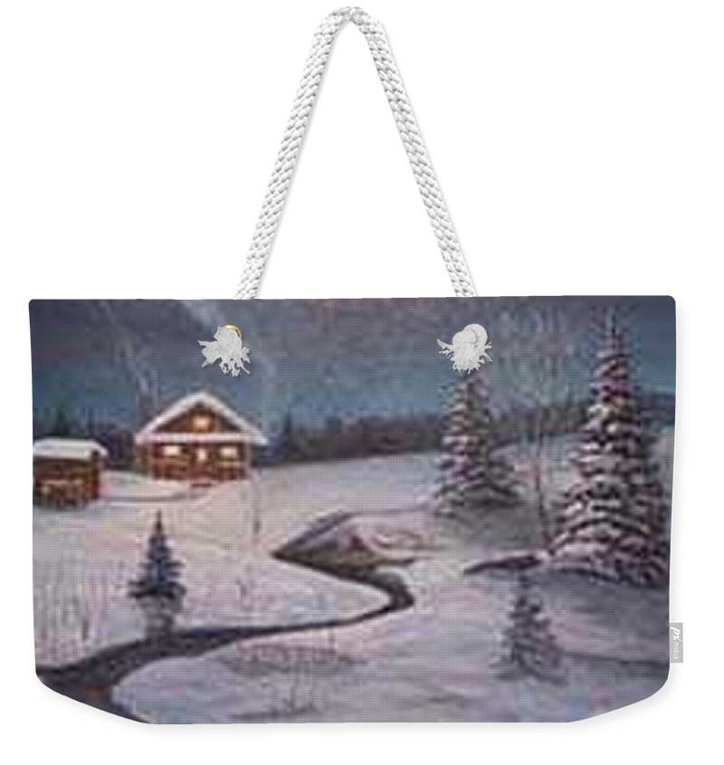 Rick Huotari Weekender Tote Bag featuring the painting North Woods Cabin by Rick Huotari