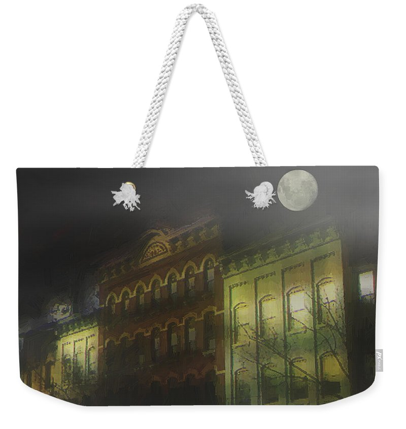 Cityscape Weekender Tote Bag featuring the painting Northampton By Moonlight by RC deWinter