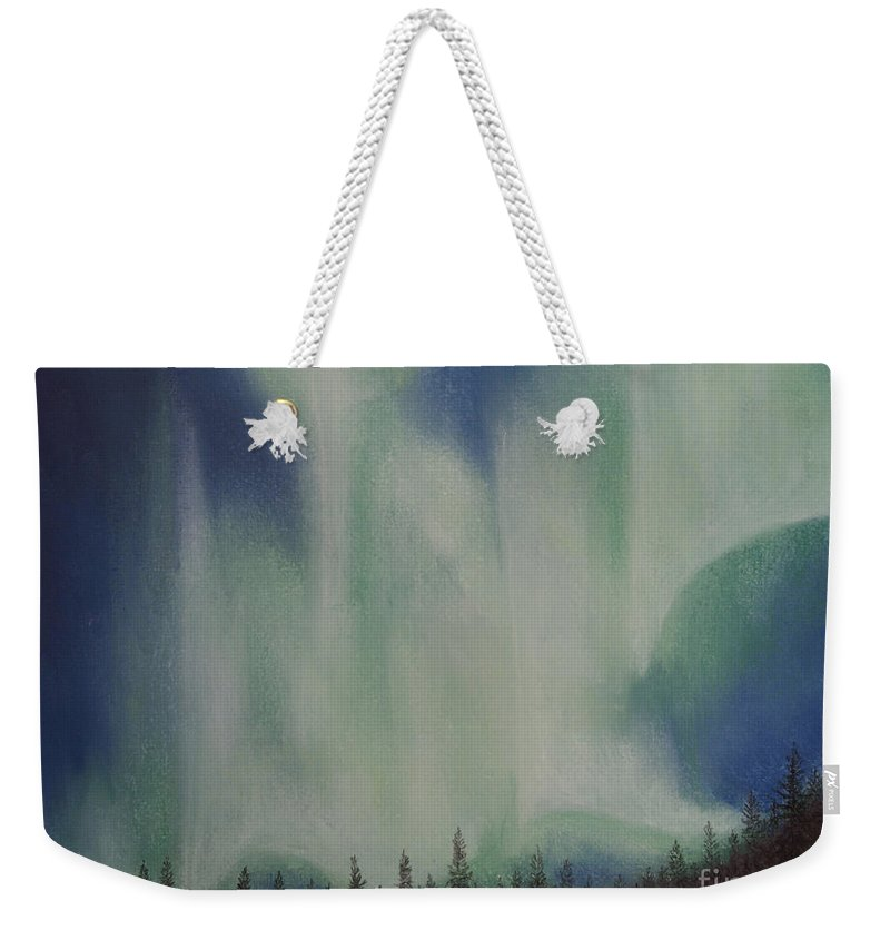 Aurora Borealis Weekender Tote Bag featuring the painting Northern Angel Bird by Stanza Widen