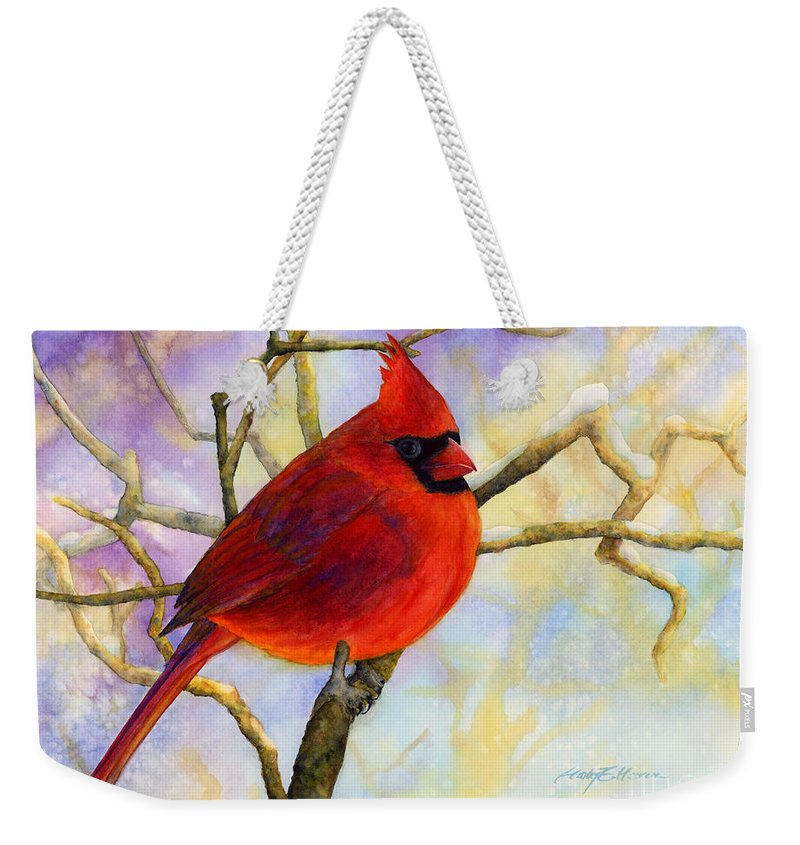 Cardinal Weekender Tote Bag featuring the painting Northern Cardinal by Hailey E Herrera