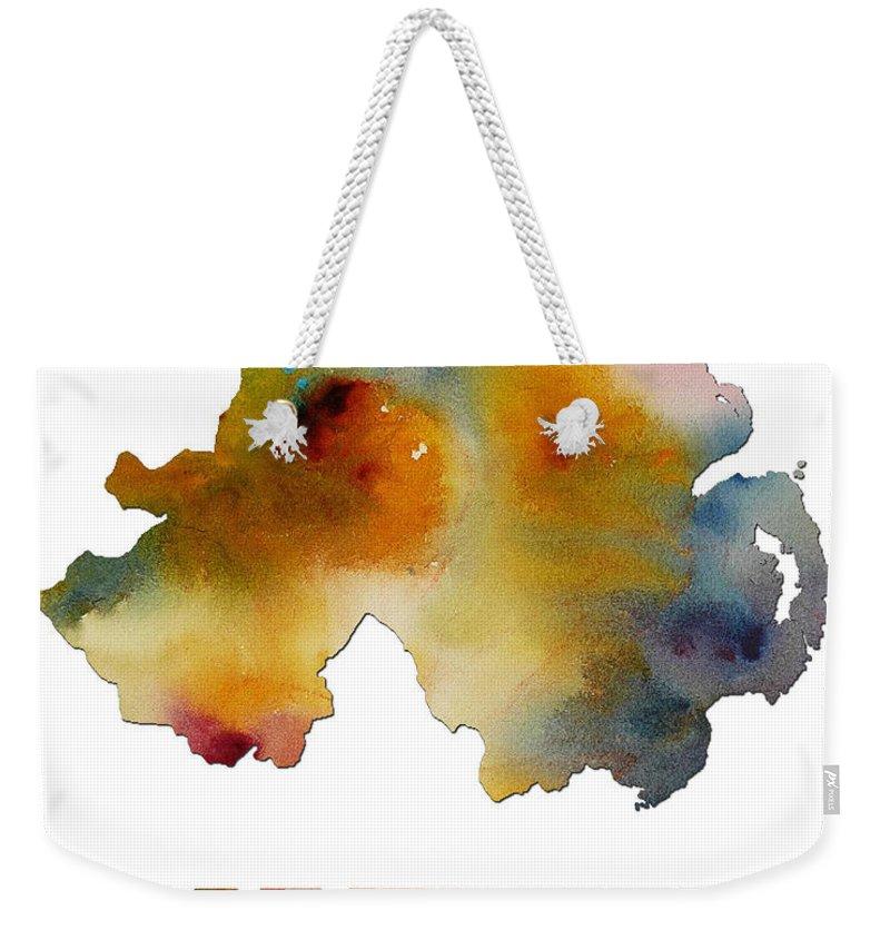 Northern Weekender Tote Bag featuring the digital art Northern Ireland Watercolor Map by Voros Edit