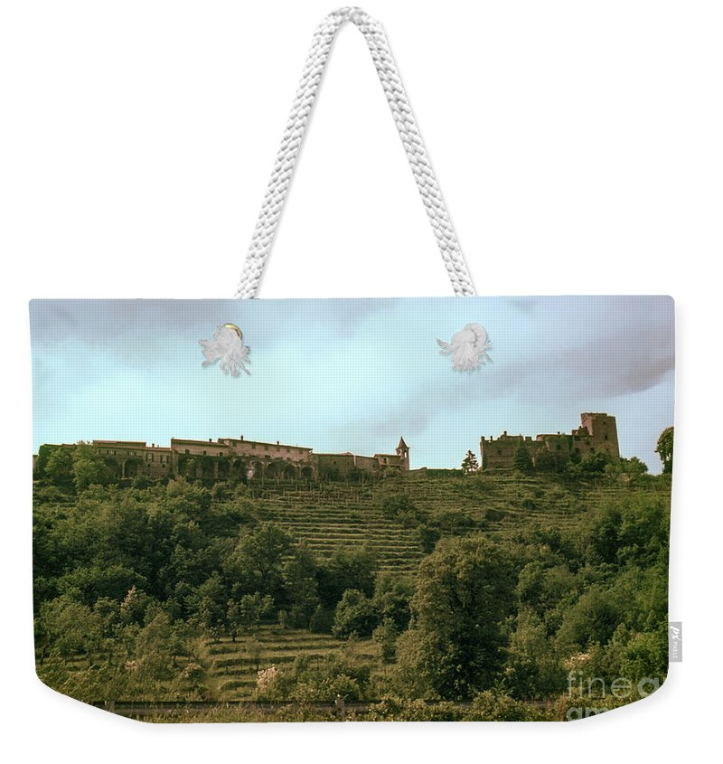 Northern Italy Countryside Farm Farms Vineyard Vineyards Castle Castles Hill City Cities Hills Structure Structures Landscape Landscapes Tree Trees Nature Weekender Tote Bag featuring the photograph Northern Italy Countryside by Bob Phillips