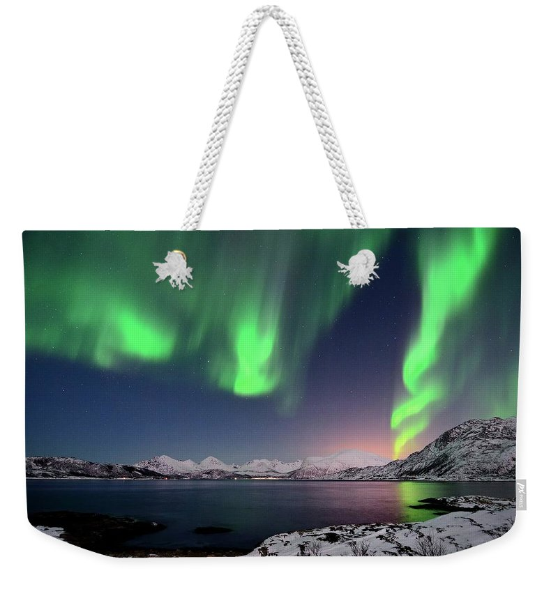 Tranquility Weekender Tote Bag featuring the photograph Northern Lights And Moonlit Landscape by John Hemmingsen