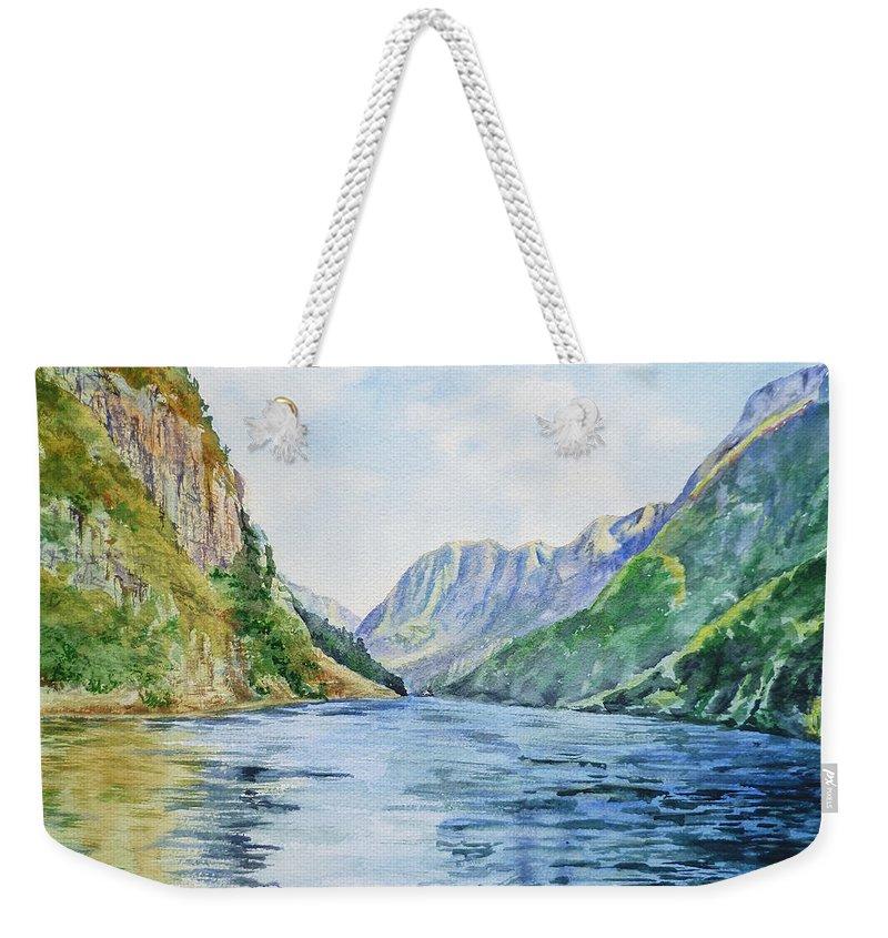 Norway Weekender Tote Bag featuring the painting Norway Fjord by Irina Sztukowski