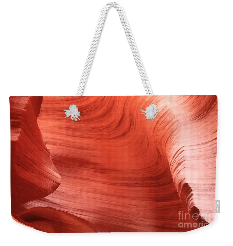 Arizona Slot Canyon Weekender Tote Bag featuring the photograph Nosing Around The Corner by Adam Jewell