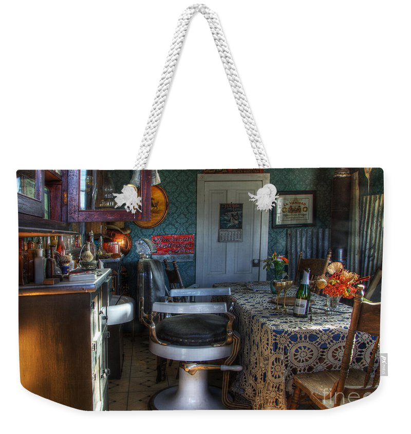 Barber Weekender Tote Bag featuring the photograph Nostalgia Barber Shop by Bob Christopher