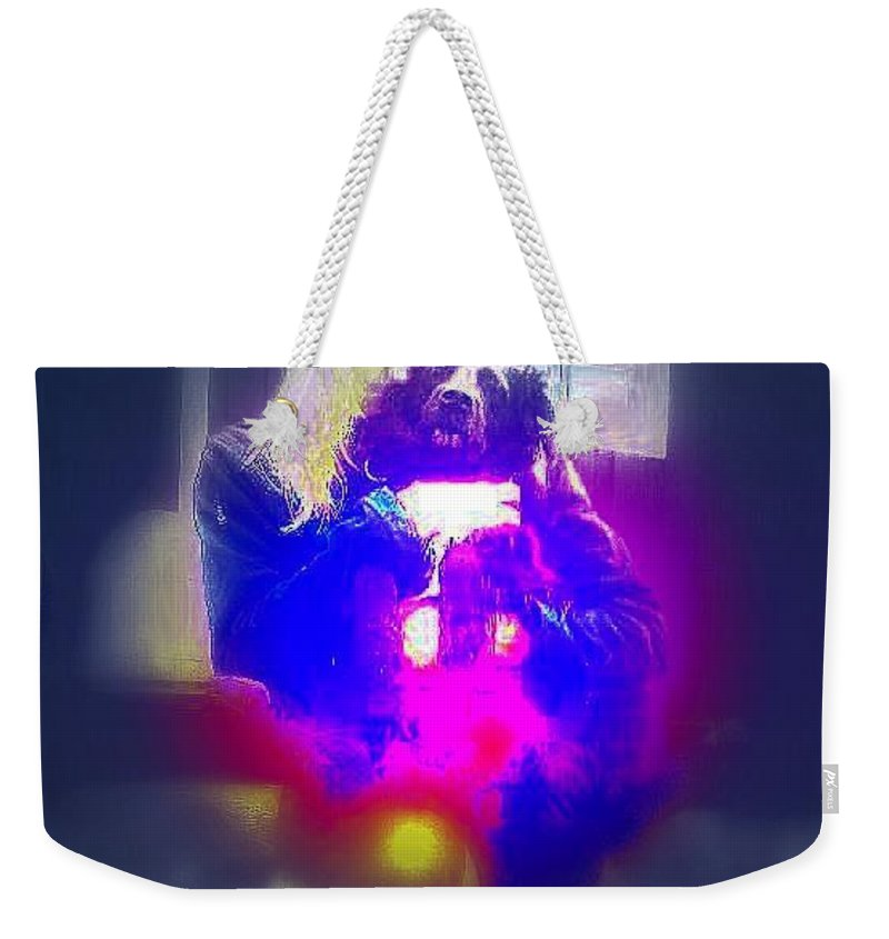 Dog Weekender Tote Bag featuring the photograph A Girl And Her Dog And Not At All A Munch Vampire by Hilde Widerberg