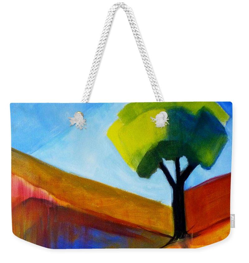 Oregon Weekender Tote Bag featuring the painting Not Alone by Nancy Merkle