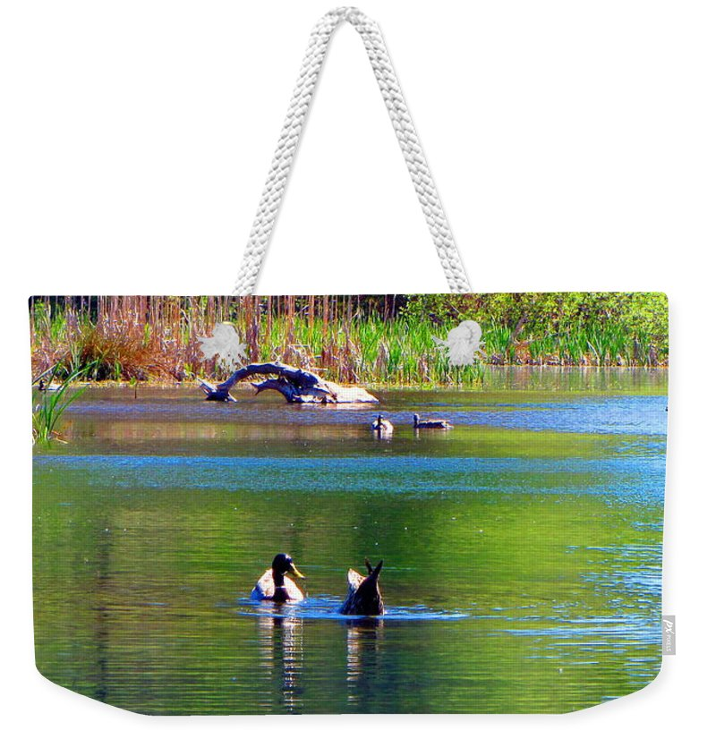 Ducks Weekender Tote Bag featuring the photograph Not Like That by Joyce Dickens