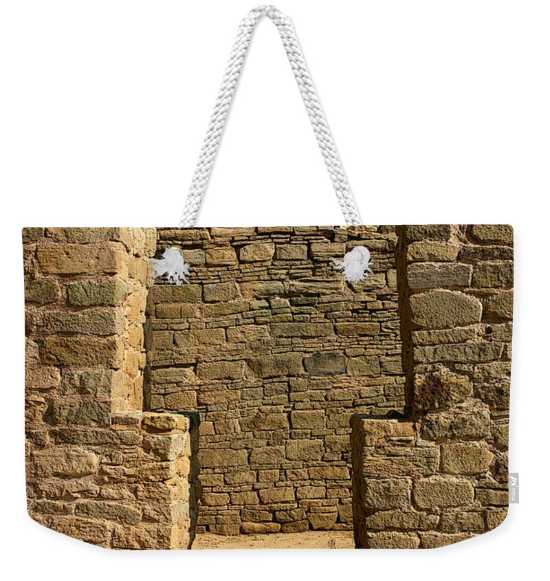 Aztec Ruins Weekender Tote Bag featuring the photograph Notched Doorway by Joe Kozlowski