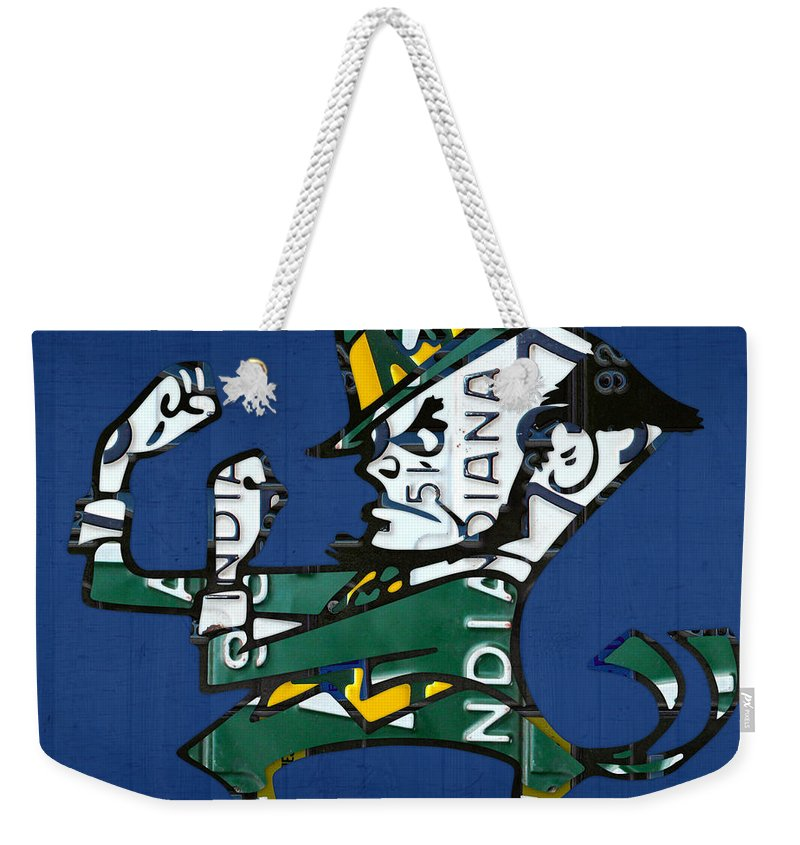 Notre Dame Weekender Tote Bag featuring the mixed media Notre Dame Fighting Irish Leprechaun Vintage Indiana License Plate Art by Design Turnpike