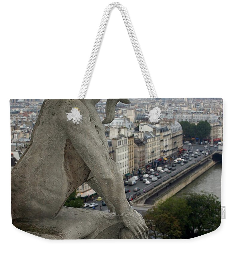 Paris Weekender Tote Bag featuring the photograph Notre Dame Gaze by Mike Reid