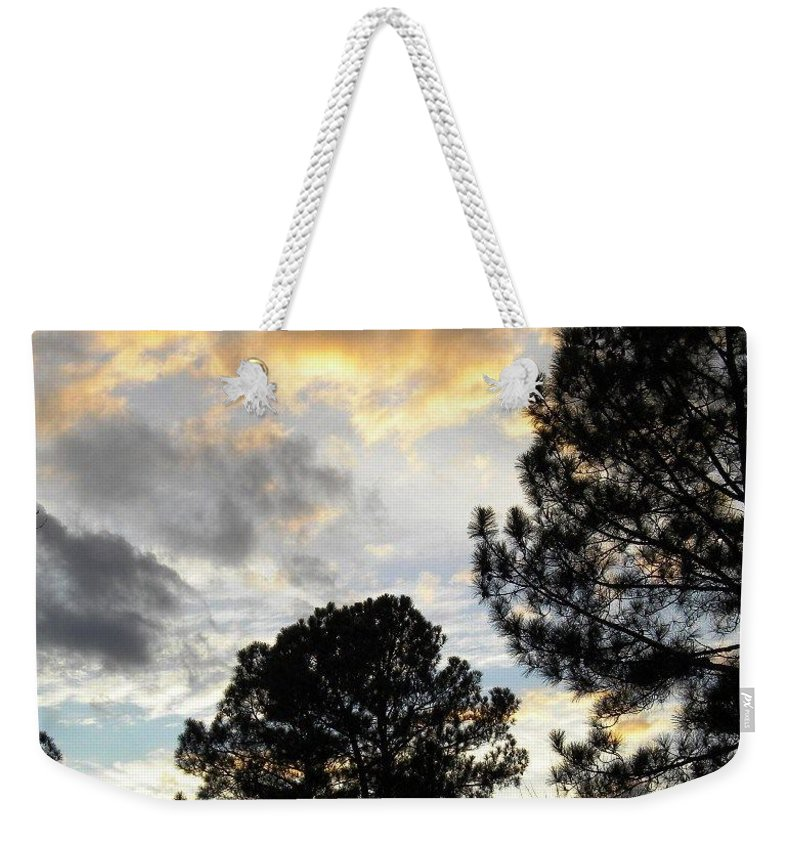Postcard Weekender Tote Bag featuring the Nov 22 2011 Small Cross In Clouds by Matthew Seufer