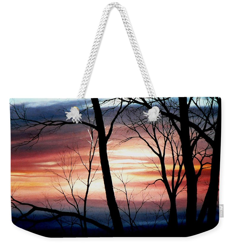 Fall Landscape Painting Weekender Tote Bag featuring the painting November Lace by Hanne Lore Koehler